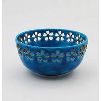 土耳古釉花透菓子鉢