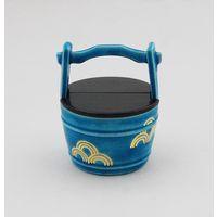 トルコ釉手桶茶器